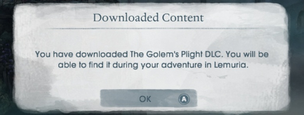 You have downloaded the Golem's Plight DLC. You will be able to find it in your adventure in Lemuria.