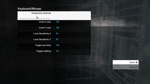 Select Customize Controls if using a keyboard/mouse