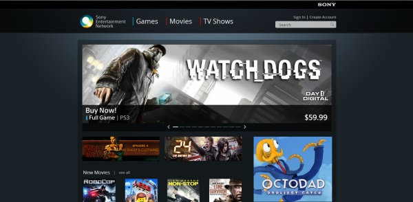Sony Entertainment Network store homepage
