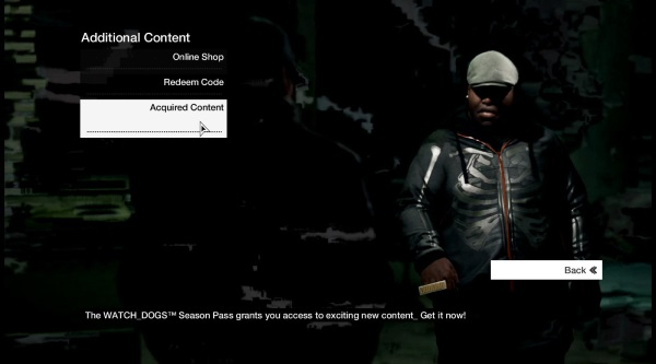 Select Acquired Content from the Additional Content menu