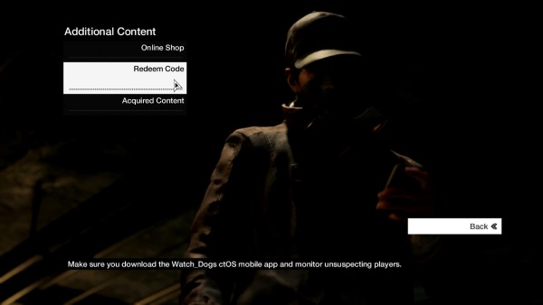 Select Redeem Code on the next screen